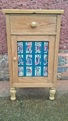 280.....Vintage Pine Bedside Cabinet / Bedside Table With Decorative Door
