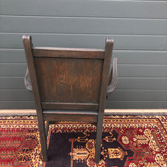 168.....A Pair Of Carved Oak Carver Chairs / Vintage Hall Chairs ( SOLD )