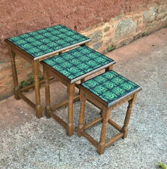 352.....Vintage Oak Nest Of Tables.....Upcycled Cofee Tables