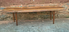 Stunning Retro Coffee Table Solid Yew Wood Top