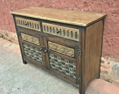 Vintage Carved Oak Dresser Base Old Charm Style Sideboard