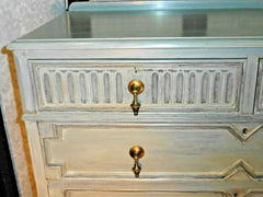 388.....Handsome Vintage Refinished Jacobean Style Oak Chest Of Drawers