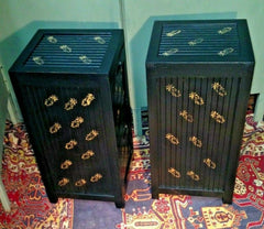 235.....A Pair Of Oriental Style Bedside Chests / Upcycled Bedside Cabinets ( SOLD )