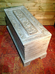 216.....Gorgeous Antique Carved Coffer / Smaller Antique Storage Chest