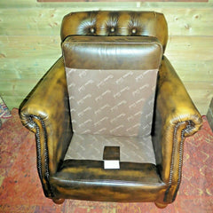 Gorgeous Pair Of Vintage Leather Chesterfield Style Armchairs By Thomas Lloyd