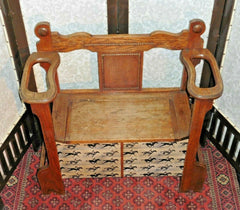 386.....Handsome Vintage Solid Oak Hall Seat Vintage Sick Stand