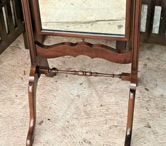 Vintage Mahogany Cheval Mirror / Queen Anne Style Mirror