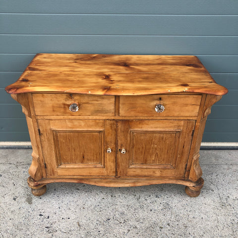147.....Antique Small Pine Sideboard / Stripped Pine Cupboard