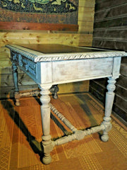 398......Stunning Antique Carved Oak Library Table / Antique Desk ( SOLD )