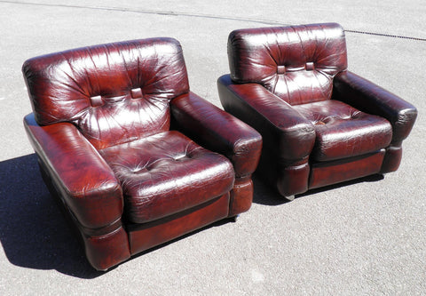 PAIR OF LEATHER RETRO ARMCHAIRS....SALE SALE SALE !