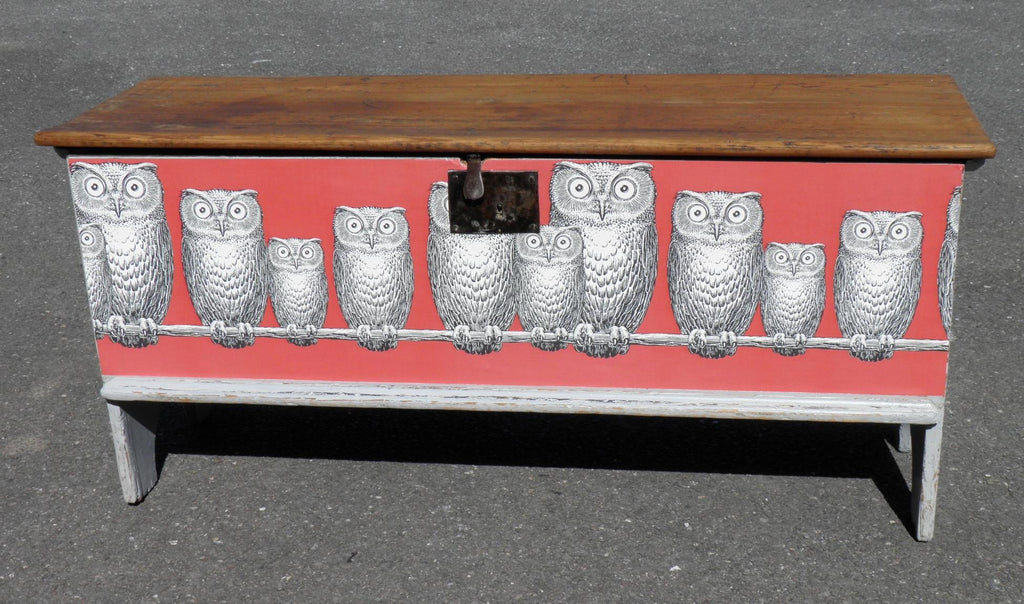 Antique Pine Coffer With Fornasetti Owls Decoration