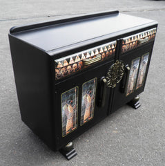 Vintage Oak Sideboard With Egyptian  Decoration