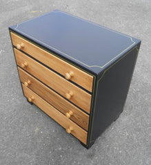 Vintage Oak Chest With Graphite And Gold Paintwork