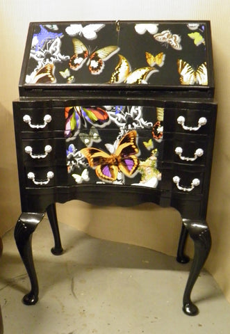 "Beautifully Upcycled Vintage ""Queen Anne"" Bureau de Dame, Desk"