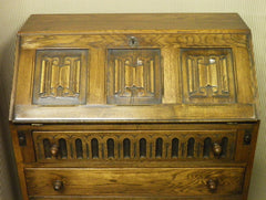 Carved Oak Bureau Jaycee / Old Charm Style