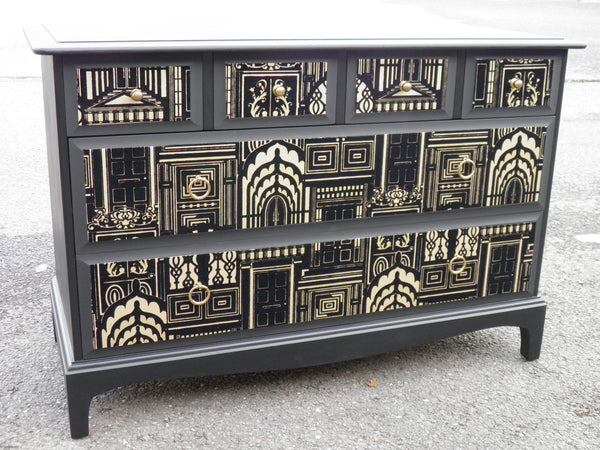 Upcycled Retro Stag Minstrel Range Decoupage Chest Drawers