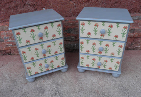 A Pair Of Upcycled Pine Bedside Chests / Bedside Cabinets