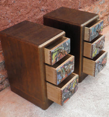 A Pair Of Art Deco Style Bedside Chests / Bedside Cabinets