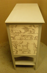 Pretty Vintage Hand Painted & 'Andrew Martin' Linen Fabric Music Cabinet