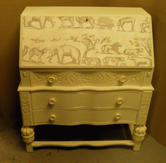 Super Vintage Shabby Chic Bureau with ' Andrew Martin ' fabric decoration.