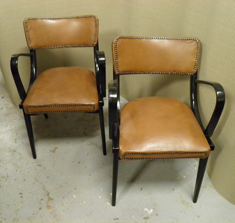 Pair Of 1960's Black And Tan Retro Armchairs