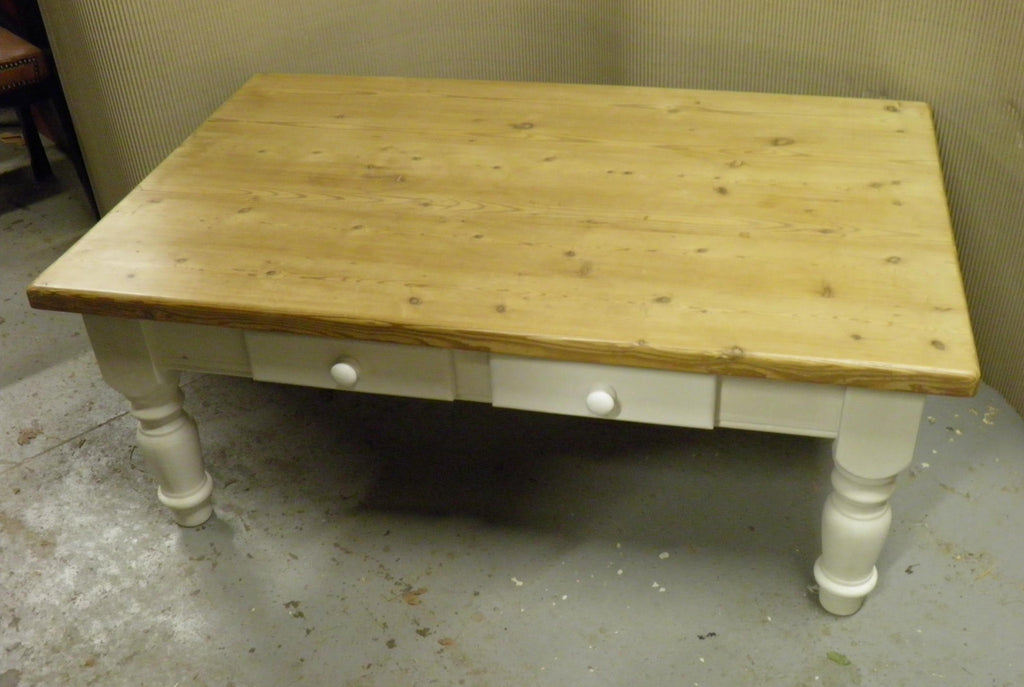 Large Antique Style Solid Pine Farmhouse Coffee Table