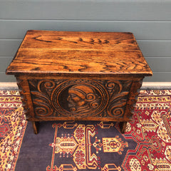 150.....Gorgeous Carved Oak Small Chest / Vintage Carved Box
