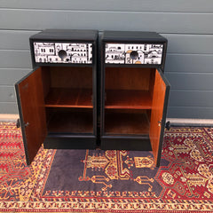 160.....Pair Of Refinished Art Deco Style Bedside Cabinets / Bedside Tables ( SOLD )