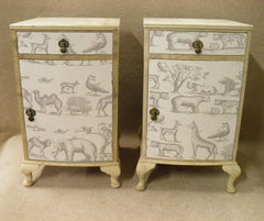 Lovely Matched Pair Of Bleached Walnut and Andrew Martin Fabric Bedside Cabinets