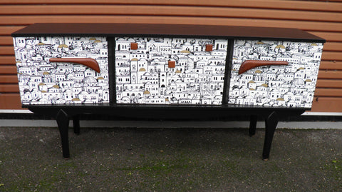 "Vintage Retro Upcycled ""Fornasetti Inspired "" Teak Sideboard"