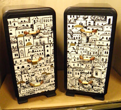 "A Stunning Pair Of ""Fabulous Fornasetti"" Style Bedside Chests"