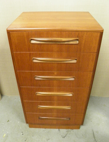G Plan Teak Fresco Range Slim Tallboy Chest Drawers