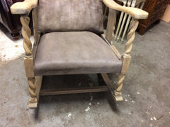Vintage 1930's Bleached Oak Barley Twist Rocking Chair