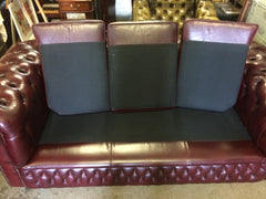 311.....Beautiful Quality Hand Dyed Burgundy Vintage Leather Chesterfield 3 Seat Sofa