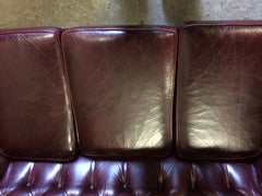 Beautiful Quality Hand Dyed Burgundy Vintage Leather Chesterfield 3 Seat Sofa