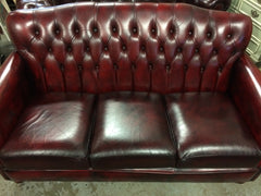 312.....Quality 1980's Vintage Hand Dyed Oxblood Leather Chesterfield 3 seater Sofa