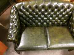 "Vintage 1970'S Wade Hand Dyed ""Antique"" Green Leather Chesterfield 2 Seat Sofa"