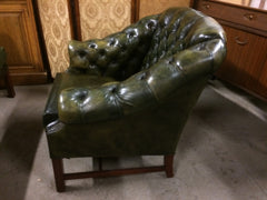 "Vintage 1970'S Wade Hand Dyed ""Antique"" Green Leather Chesterfield Library Chair"