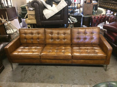 Gorgeous Contemporary Hand Dyed Tan Leather Florence Knoll Retro Style Sofa