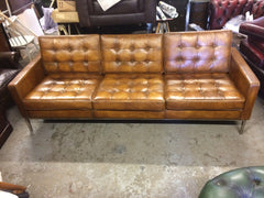 327.....Gorgeous Contemporary Hand Dyed Tan Leather Florence Knoll Retro Style Sofa