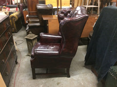 348.....Beautiful Vintage Hand Dyed Dark Red Leather Chesterfield Wing Back Armchair