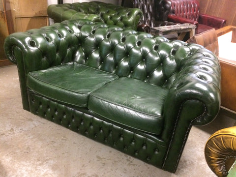 347.....Antique Bottle Green Hand Dyed 1980'S Vintage Leather Chesterfield 2 Seat Sofa