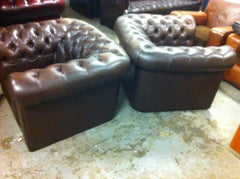 Lovely Pair 20th.C Vintage Brown Leather Deep Buttoned Chesterfield Club Chairs