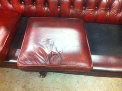 "Lovely Oxblood Red Vintage Leather ""Queen Anne"" style 3 seat sofa / settee"