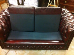 Vintage 20th. Century Hand Dyed Dark Ruddy Brown Leather Chesterfield Sofa