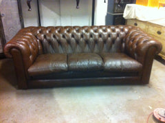 Good Quality 1970's Vintage Mid Brown Leather Chesterfield 3 Seat Sofa