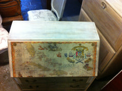 "269.....Decorative Antique Decoupage Bleached & Painted ""Drift Wood"" Fall Flap Desk"