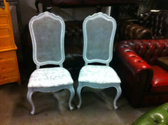 Pair Vintage French Style Grey Painted Caned High Back Side Chairs