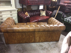 Vintage 70's Hand Dyed Tan / Light Brown Tetrad Leather Chesterfield 3 Seat Sofa