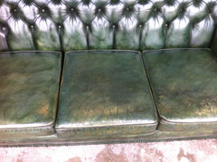 "Vintage Wade ""Antique"" Green Hand Dyed Leather Chesterfield Sofa Circa.1970"